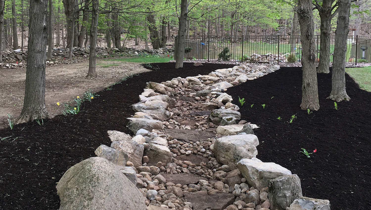 A finished Drainage and grading installation at a Central New York home
