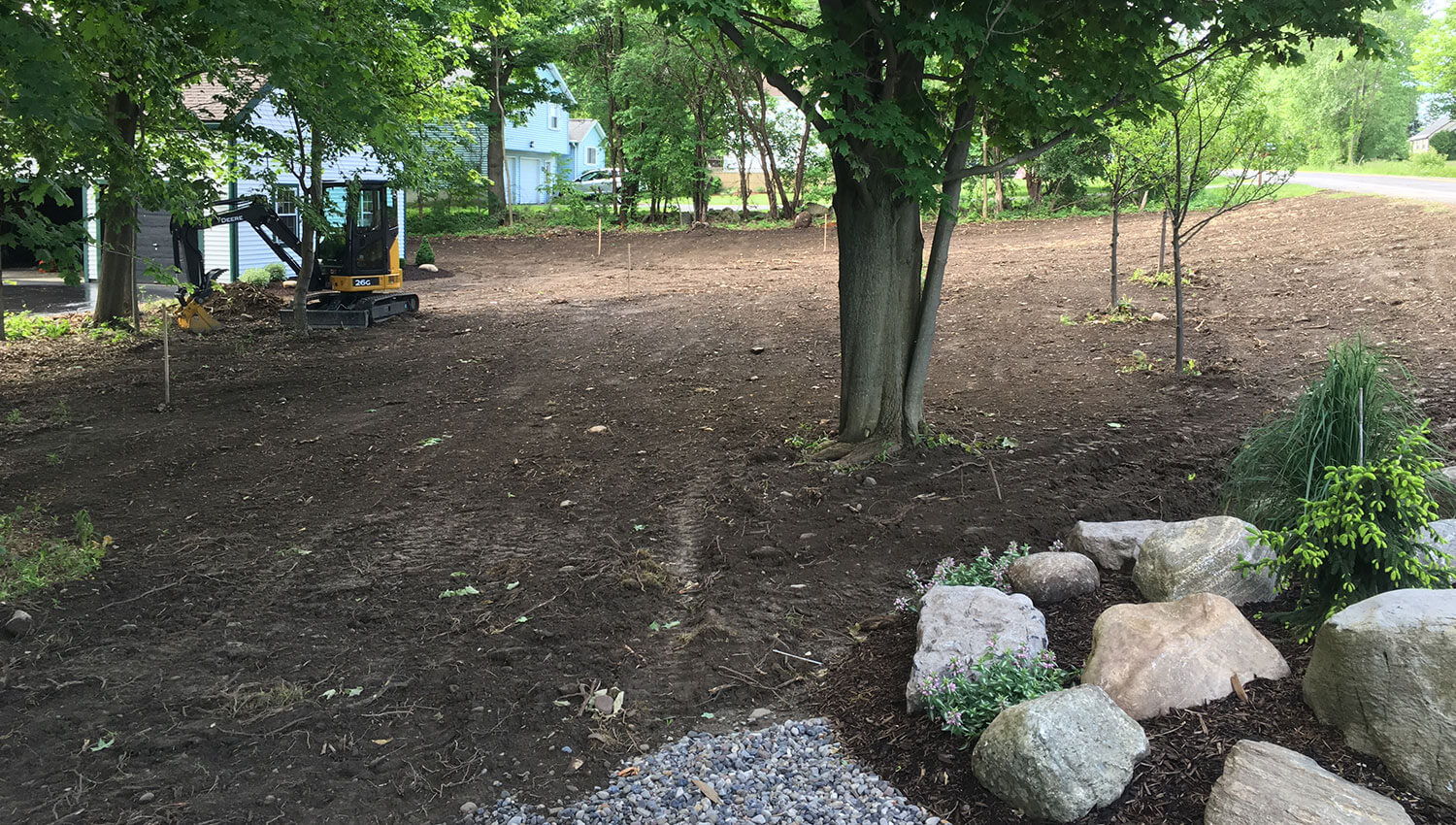 Landscaping and grading at a Central New York home