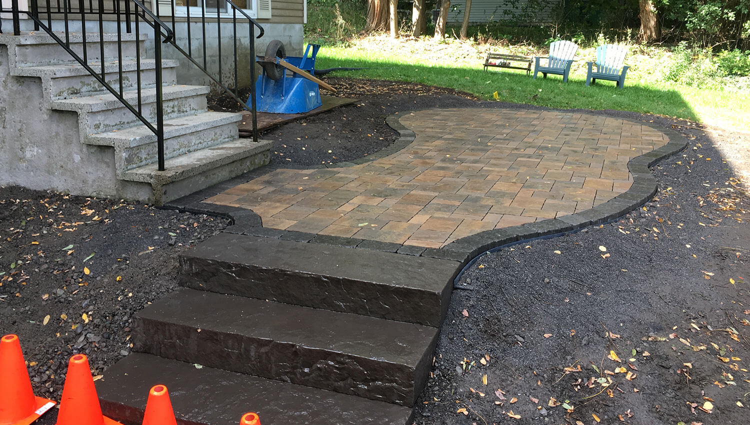 A brick hardscape installation at a central new york home