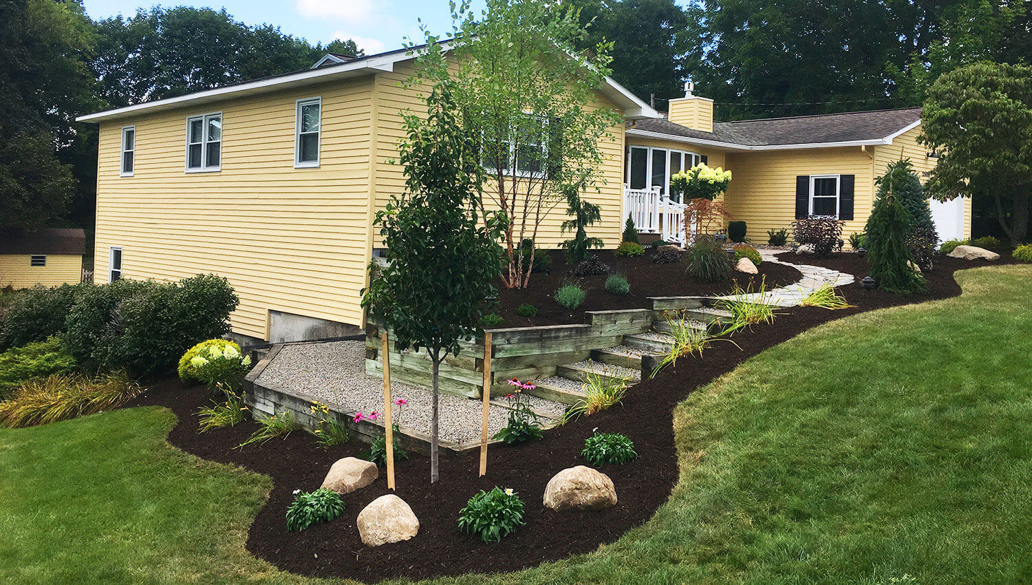 A beautiful outdoor landscape installation at a Central New York Home