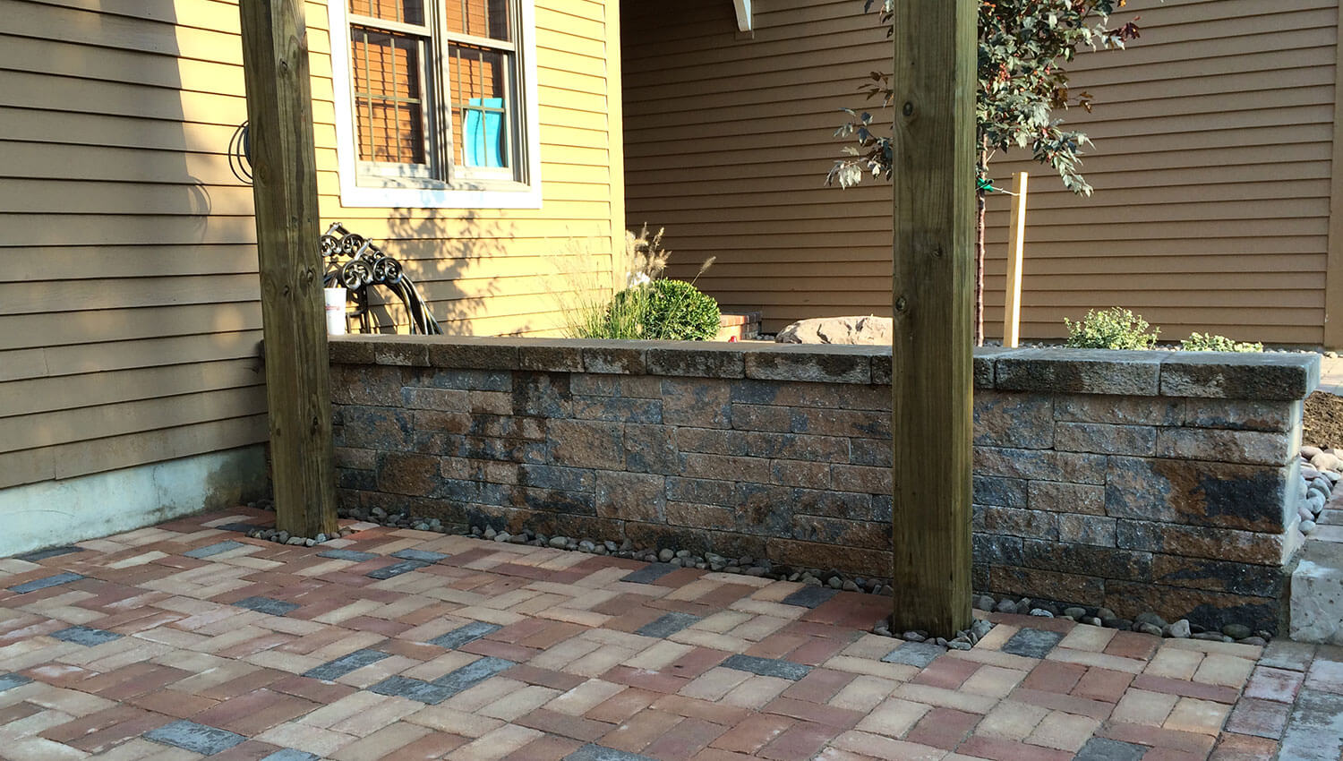 A sturdy and attractive retaining wall at a Central New York home