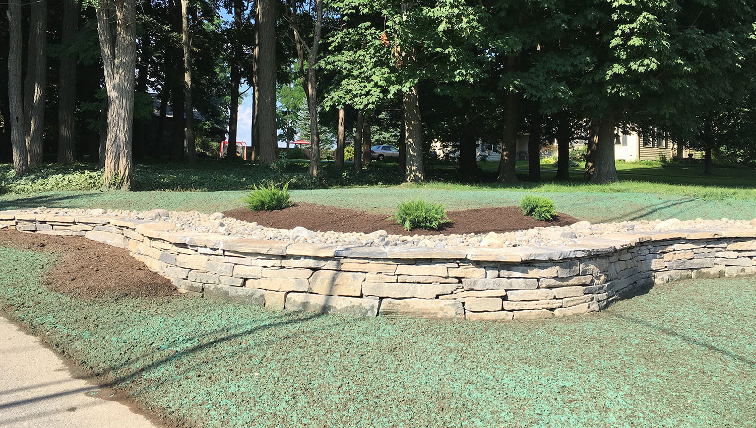 A beautiful stone retaining wall at a Syracuse home