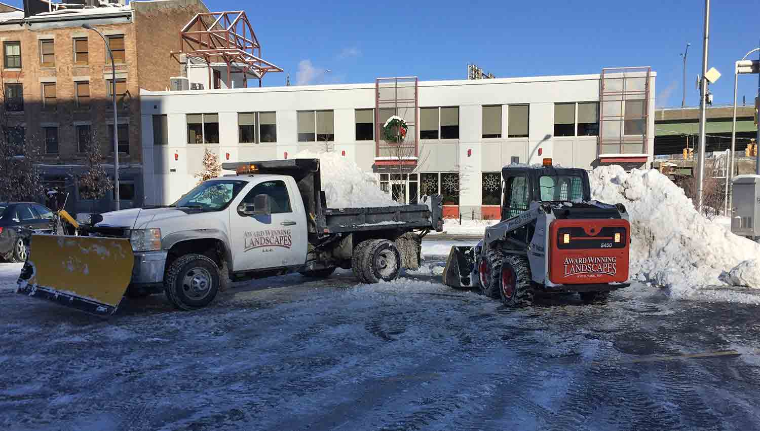 Snow removal service at a downtown syracuse business
