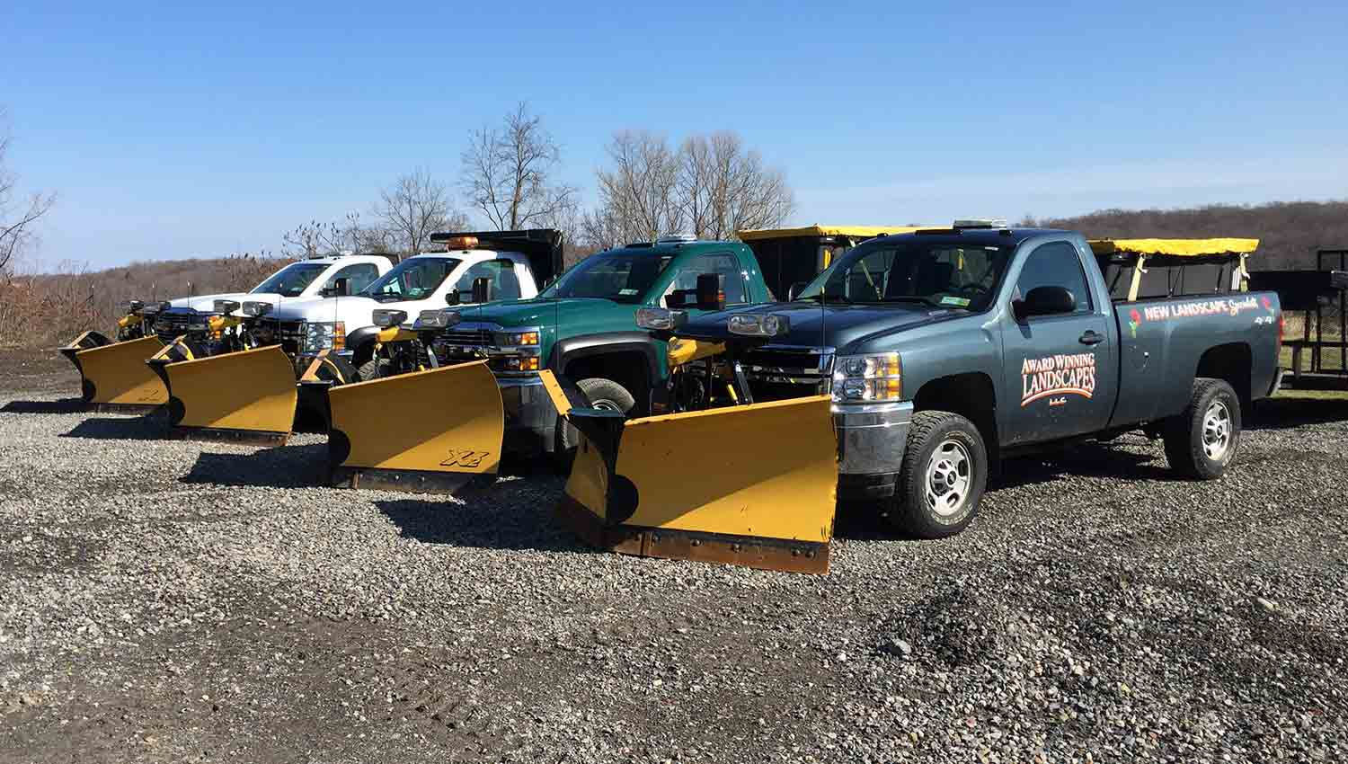 The fleet of snow removal vehicles from Award Winning Landscapes