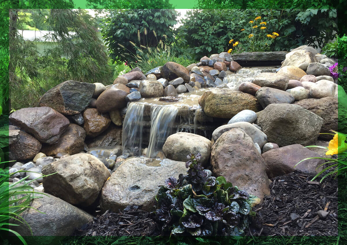 A calming waterfall installation at a Central New York home